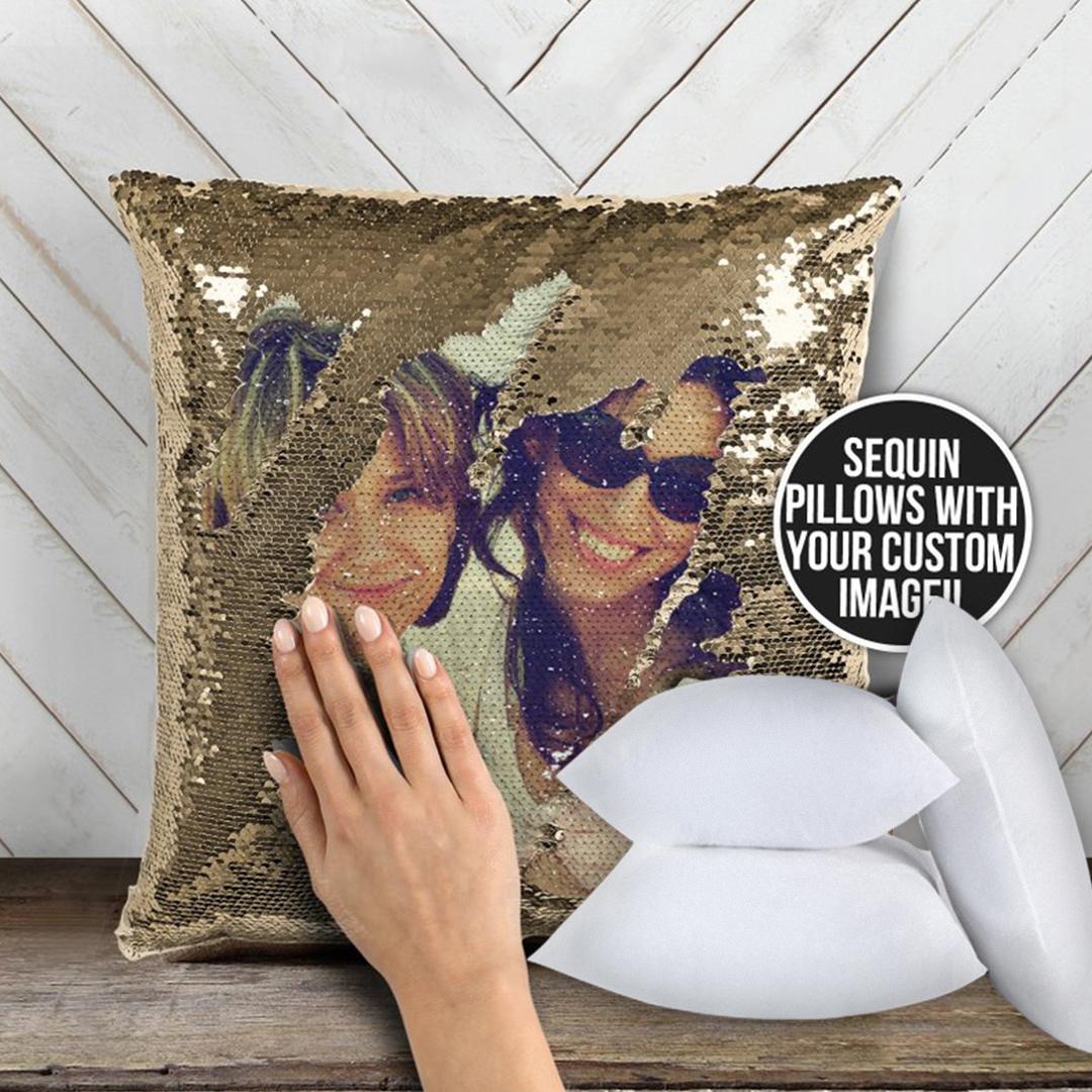 Custom Photo Magic Sequin Pillow Contain Inserts