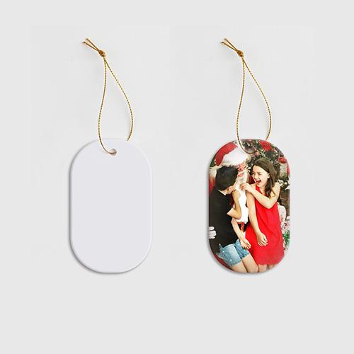 Custom Ellipse Ceramic Ornaments