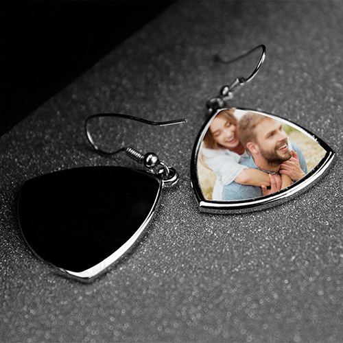 Custom Photo Triangle Earrings