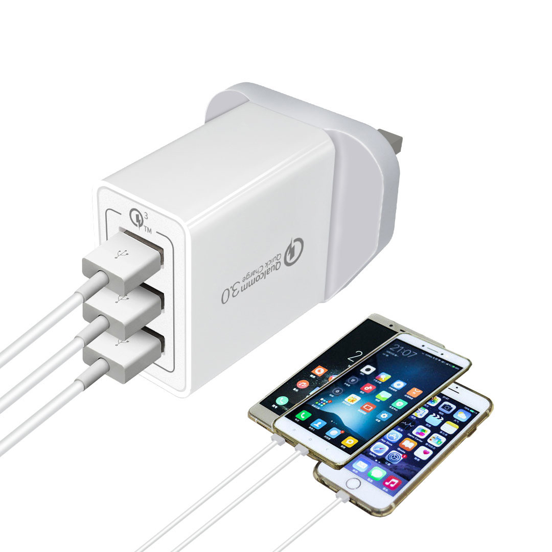 3-Port USB Wall Charger with Quick Charge 3.0