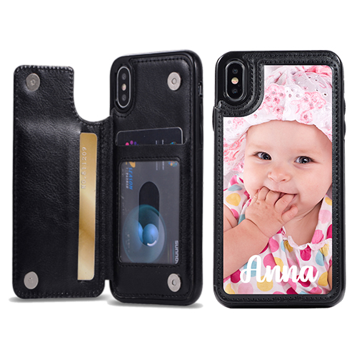 Custom for iPhone X Card Holder Wallet Case