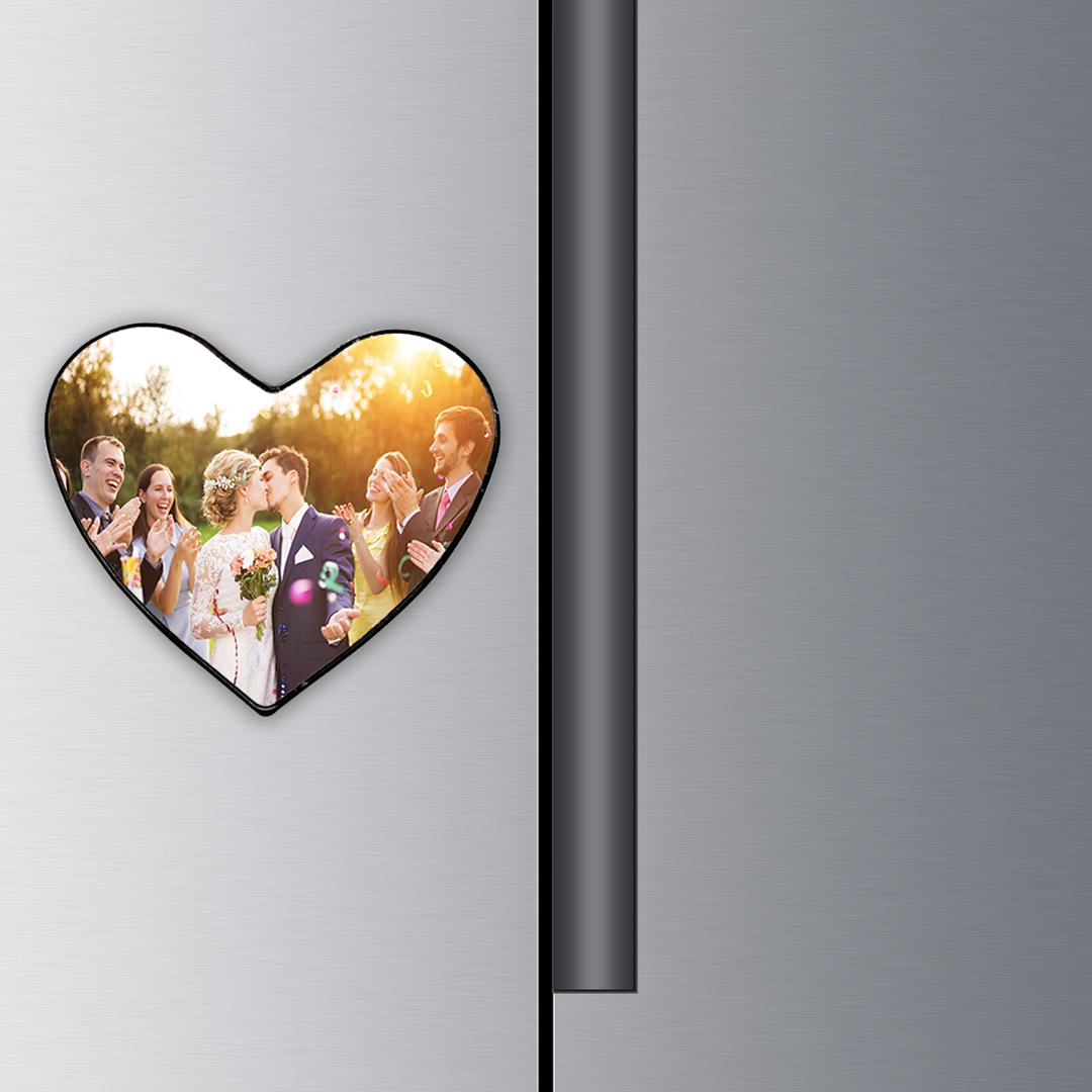 Custom Photo Heart Metal Magnets