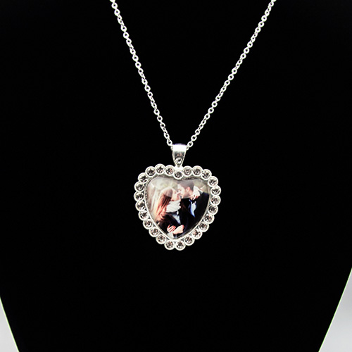 Custom Diamond Heart Crystal Photo Necklace
