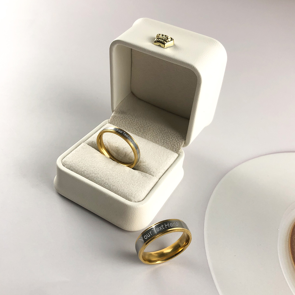 Engraved Personalized Tungsten Steel Couples Rings